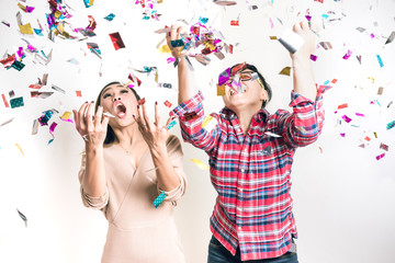 Asian People Having Fun in Celebrate Party - Surprise and Excite Emotion for Stock Photo