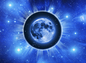 Wall Mural - Moon in a light circle over blue starry Universe background  like a concept Lunar astrology
