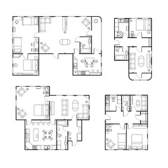Set of different black and white house floor plans with interior details on white