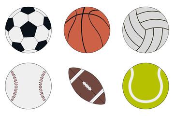 Sports Balls icon set - soccer, basketball, volleyball, baseball, american football and tennis. Vector illustration.