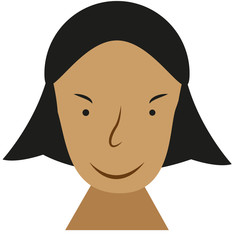 Picture of a flat face of a woman's face. Caricature of a woman's face