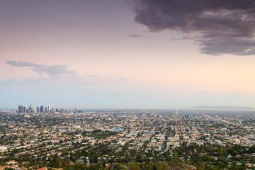 amazing overlook of los angeles city, california