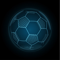 Vector image of a soccer ball made of glowing lines, points and polygons