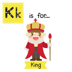 Cute children ABC alphabet K letter tracing flashcard of King for kids learning English vocabulary in Happy Halloween Day theme. Vector illustration.