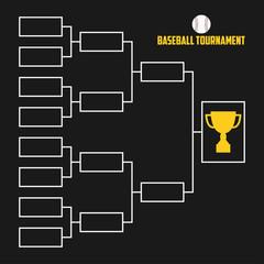 Tournament Bracket. Baseball championship scheme with trophy cup. Sport vector illustration.