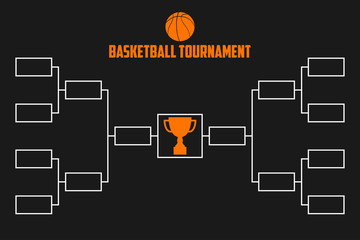 Tournament Bracket. Basketball championship scheme with trophy cup. Sport vector illustration.