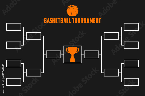 Tournament Bracket Basketball Championship Scheme With Trophy Cup