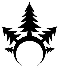 Fir tree forest rim stylized stencil black, vector illustration, vertical, isolated