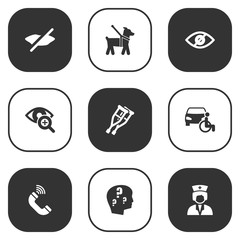 Set Of 9 Accessibility Icons Set.Collection Of Brain With Question, Pet, Disabled Vehicle And Other Elements.