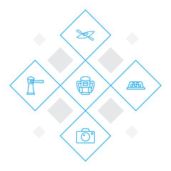 Set Of 5 Travel Outline Icons Set.Collection Of Lighthouse, Boat, Photo And Other Elements.
