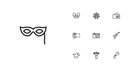 Set Of 10 Cocktail Outline Icons Set.Collection Of Flower, Card, Video And Other Elements.