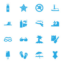 Set Of 16 Seaside Icons Set.Collection Of Swimwear, Diver Equipment, Mask And Other Elements.