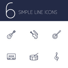 Set Of 6 Melody Outline Icons Set.Collection Of Percussion, Acoustic, Note And Other Elements.