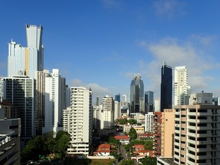 A view of Panama City downtown buildings from a high vantage point
