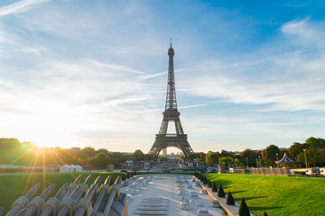 Eiffel Tower from Trocadero at sunrise, Paris, France