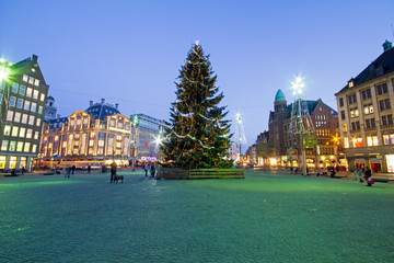 Christmas on the Damsquare in Amsterdam in the Netherlands at night