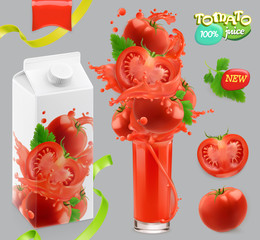 Tomato vegetables. Splash of juice. 3d realistic vector, package design set