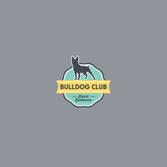 Dog silhouette on the green badge with yellow ribbon. Bulldog logo on a badge. Retro. Veterinary logo or Dog meal logo.