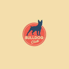 Bulldog logo. Kennel club. Dog club. Retro emblem. Dog silhouette on the red badge.