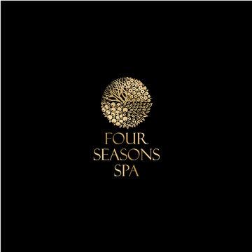 Four season logo, Spa emblem. Gold logo, isolated on a dark background.