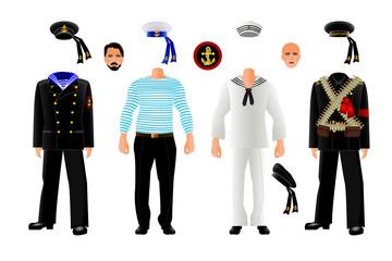 Sailor uniform set, isolated, vector