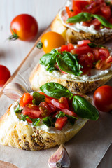 Tomato and cheese fresh made bruschetta. Italian tapas, antipasti with vegetables, herbs and oil on grilled ciabatta and baguette bread.