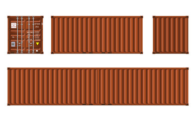 Brown shipping cargo containers, vector