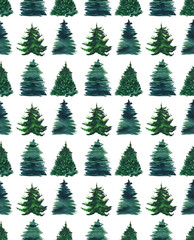 Christmas beautiful abstract graphic artistic wonderful bright holiday winter green spruce trees pattern watercolor hand illustration. Perfect for textile, wallpapers, backgrounds and greetings cards