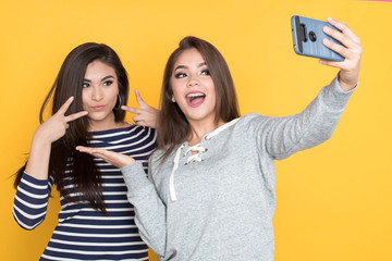 Teen Girls Taking Selfie