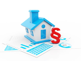 3d render illustration - house and red paragraph symbol. isolated on white background