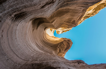 View from bottom of canyon with blue sky