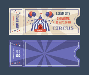 Set of tickets for circus performances, events, show performances.