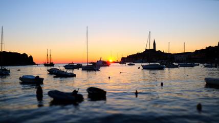 Sunset at Rovinj harbour, Croatia