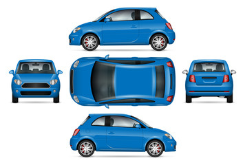 Blue mini car vector mock up for car branding, advertising and corporate identity. Isolated minicar set on white background. All layers and groups well organized for easy editing and recolor.