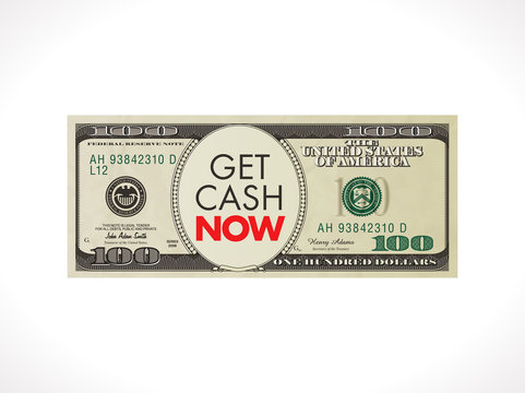 Get cash now - fast loan concept - 100 dollars with stopwatch