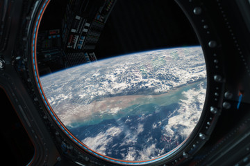 Wall Mural - View of planet Earth from a space station window 3D rendering elements of this image furnished by NASA