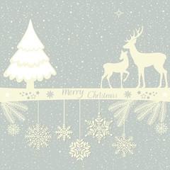 Christmas greeting card with deers