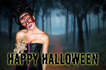 """Frau ohne Gesicht in Korsett vor Wald-Hintergrund und """"Happy Halloween"""" Nachricht"""