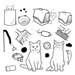 Cats and products for cats, Accessories for pets, Sketches, doodle drawings, pet equipment, Cartoon cats care elements