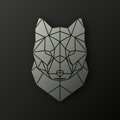 Polygonal head of a wolf. Geometrical illustration.