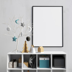 Modern Christmas interior with credenza, Scandinavian style. poster mock up. 3D illustration