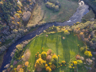 Aerial shot landscape at autumn,city Tallinn, Estonia