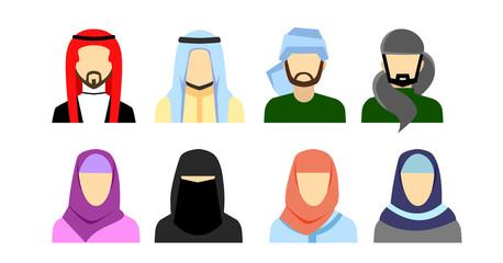 Arabic avatars in flat style. Arabic man and woman icons set. Vector illustration.