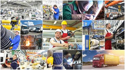 Collage mit technischen Berufen -  Maschinen, Gebäude und Menschen in der Industrie & Logistik