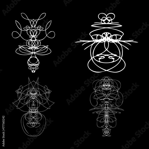 Voodoo spirits symmetrical symbols set  Abstract geometric hand