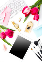 Still life of fashion woman, objects on white background