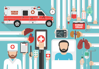 Human organ for transplantation car design flat with doctor and patient.Vector illustration