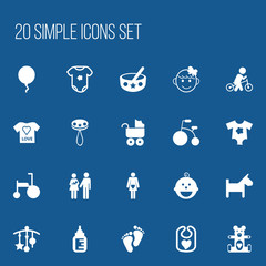 Set Of 20 Editable Child Icons. Includes Symbols Such As Tricycle, Puppy, Spoon And More. Can Be Used For Web, Mobile, UI And Infographic Design.