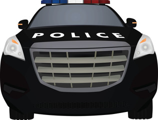 Police car front view. vector illustration