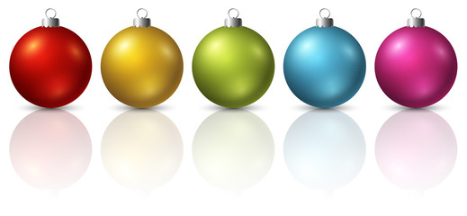 Colourful christmas balls on white background